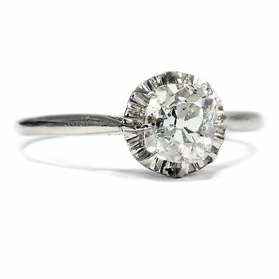 Paris um 1920: Platin Verlobungsring: 1,50 ct Cushion Cut Brillant Ring, Solitär