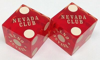CASINO DICE - NEVADA CLUB PAIR DICE RENO NV '80s MATCHING NUMBERS FREE SHIPPING