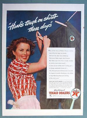 10 X 14 Original 1944 Texaco Ad HANK'S TOUGH ON SHIRTS THESE DAYS