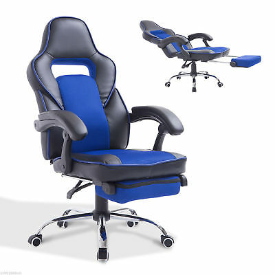 HOMCOM Gaming Office Chair Race Car Style PU Leather Swivel Recliner w/ Footrest