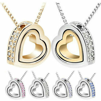 Women's Heart Crystal Charm Pendant Chain Necklace Silver&gold Plated Jewelry