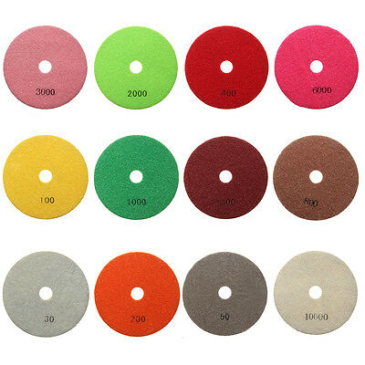 HQ 5'' inch 125mm Wet Diamond Polishing Pads Marble Granite Individual Set Grits