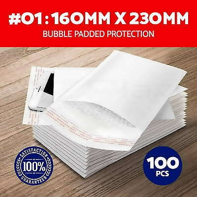 100X #01 Bubble Padded Bag 160x230mm Mailer Envelope White Printed Size 01