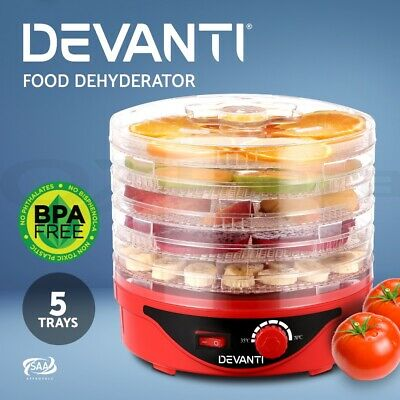 DEVANTI 5 Trays Food Dehydrator Jerky Dryer Healthy Maker Fruit Preserver RD