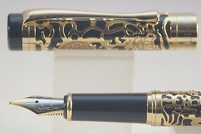 Jinhao No. 5000 Series Fountain Pen Black Lacquer with Gold Plated Overlay