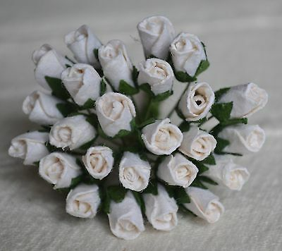 48 WHITE ROSE BUDS (L) Mulbery Paper Flowers for wedding miniature cards