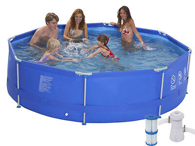 "NEW FAMILY SWIMMING POOL 3m / 10ft x 30"" ROUND DELUXE  STEEL FRAME PUMP & FILTER"