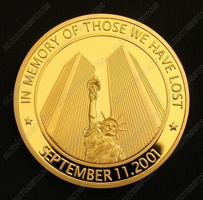 Memorial 911 American Heroes 10th Anniversary 24K Gold Plated Commemorative Coin