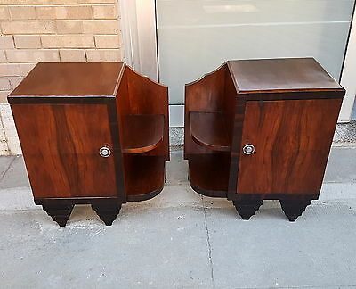 Original Italian Walnut  Art Deco Nightstand Tables From 1930-40