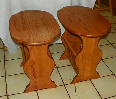 Pair of Solid Oak Oval End Tables / Side Tables with Magazine Rack  (T554)