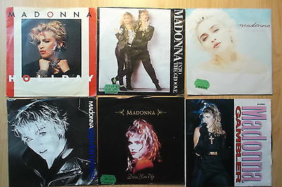 "MADONNA 9 x 7"" SINGLES: GAMBLER INTO THE GROOVE HOLIDAY CRAZY FOR YOU COME TO..."
