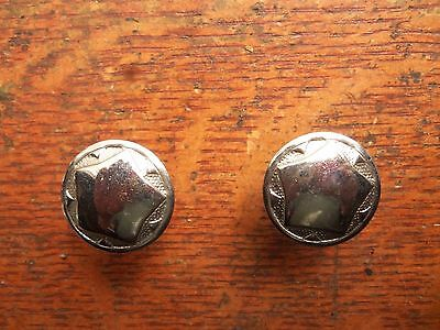 Two Vintage Antique Nickel Plated Brass Star Motif Cabinet Drawer Pulls