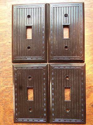 Four Vintage Brown Bakelite Toggle Switchplates Switch Plates c1940 Bryant