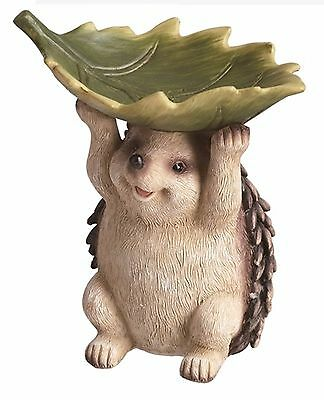 "Resin Hedgehog with Leaf Figure Bird Feeder Home Garden Decor 8.5"" NEW T7997"