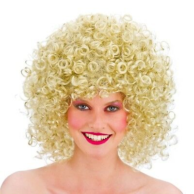 80s Blonde Perm Wig Curly Disco Afro Adults Fancy Dress Costume Accessory
