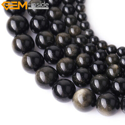 """Natural Stone Genuine Gold Obsidian Gemstone Beads For Jewelry Making 15"""""""