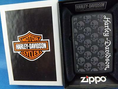 Harley Davidson Zippo Lighter Motorcycles Skulls Black Collector New Gift Box