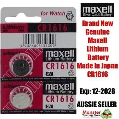 2 Pcs Maxell Cr1616 3V Lithium Button Coin Battery Made In Japan For Watch New