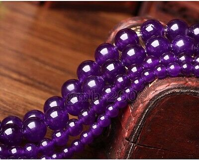 6/8/10/12/14mm Natural Russican Amethyst Round Gemstone Loose Beads 15''AAA++