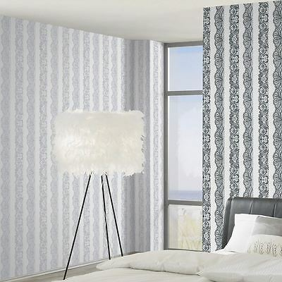 Catherine Lansfield Silver & White Lace Effect Wallpaper 13379-24 Feature Wall