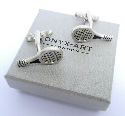 TENNIS GIFT-TENNIS RACKET Satin Silver Style METAL CUFF LINKS in a GIFT BOX-NEW