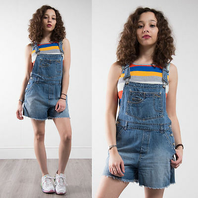 Vintage 90's Dungarees Short Length Denim Blue Faded Adjustable Womens Casual 10