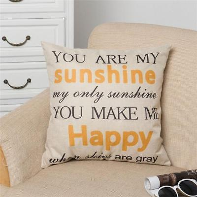 You Are My Sunshine Letters Pillows Case Linen Cushion Cover Rome Sofa Decor B