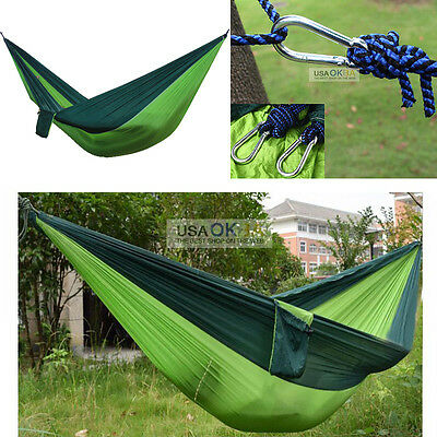 Double Person Indoor Outdoor Hammock Hanging Bed Swing Parachute Nylon Fabric