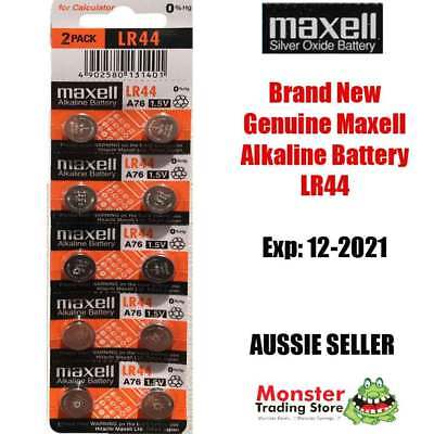10 Pcs Lr44 A76 Ag13 1.5V Alkaline Battery Genuine New  Best Before: 12/2021