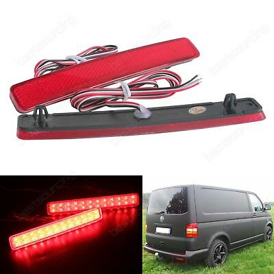 2x VW Transporter T5 Red LED Rear Bumper Reflector Reverse Brake Stop Light Lamp