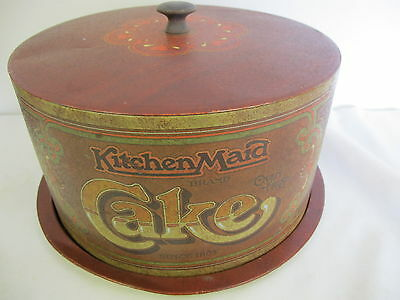 Ballonoff Cake Plate  Canister Vintage Kitchen Maid Tin Metal
