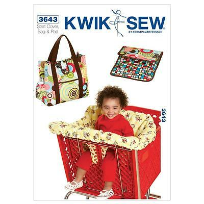 Kwik Sew Sewing Pattern Shopping Cart Seat Cover & Nappy Bag Changing Pad K3643