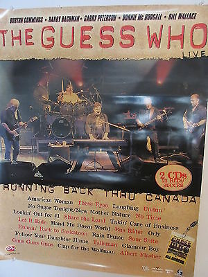 2000 The Guess Who Running Back Thru Canada Record Store Promo Poster