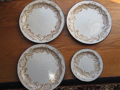 Midwinter Seascape Three Dinner Plates and One Salad Plate