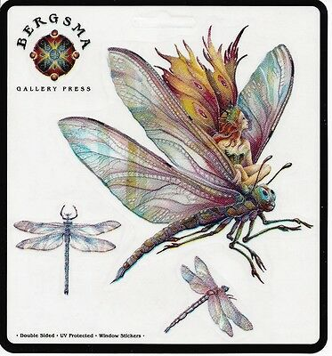 DRAGON RIDER Set of 4 Fairy Stickers Car Decals Jody Bergsma dragonfly sticker