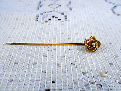 Quality Antique 14k Gold Pearl Love Knot Stick Pin