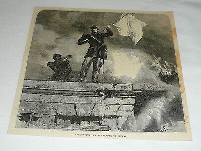 1879 magazine engraving ~ SOLDIER ANNOUNCING THE SURRENDER OF SEDAN