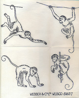 Monkey Monkies  ~ Vintage 1930s 40s Embroidery Transfer 61