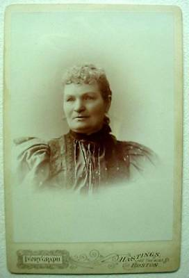 Antique Cabinet Card Framed Photo Sarah Newcomb Concord Boston