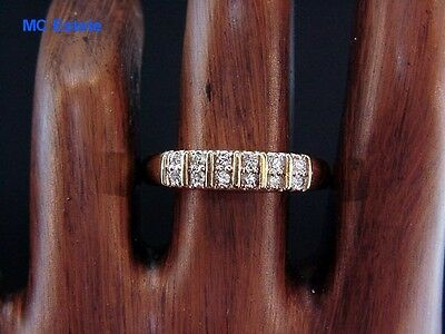 Fab Estate 14k Signed Yellow Gold Double Row Diamond Anniversary Band Ring