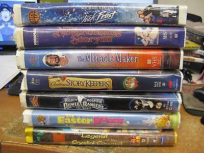 7 Different Children's Family VHS Tapes Clamshell Power Rangers Jack Frost