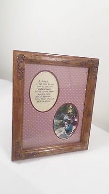 "Vintage Wood Picture Frame for 7.5"" x 10"" Photo w/ Friend Saying"
