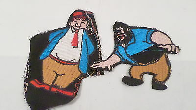 2 Vintage Popeye Wimpy & Brutus Character Sew On Patches