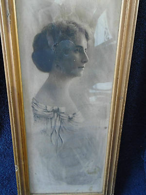 Framed Signed Charcoal Painting Photo Young Woman Signed dated 1913