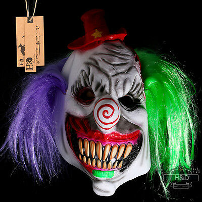 Scary Green Latex Horror Clown Halloween Mask Masquerade Party Costumes Dress