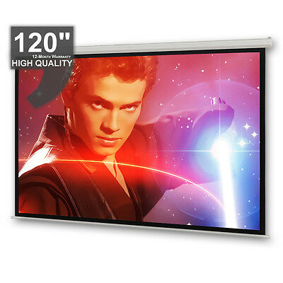 "120"" Electric Motorised Projector Screen HD3D 16:9 4:3 Projection Remote Control"