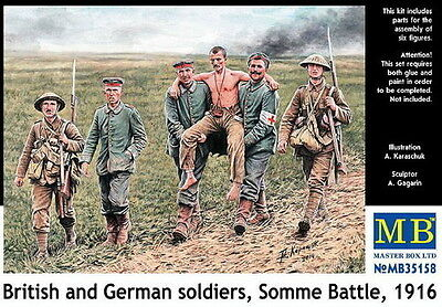 Master Box 1/35 Scale Plastic Model Kit British And German Soldiers Ww1 Mb35158