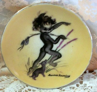 Vintage Brownie Downing Wall Plate- Aboriginal Child Play with Her Dog