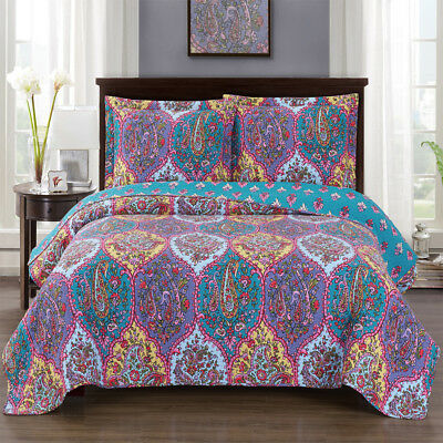 Julia Cool King Size, Over-Sized Coverlet 3pc set, Luxury Printed Quilt