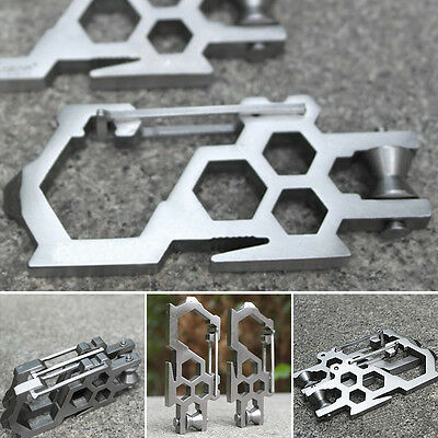 Camping Sports EDC Pulley System Stainless Steel Carabiner Opener Multi-Tool